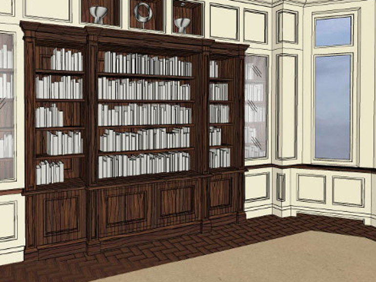 Classical Style Furniture Design - Paneled Library Design 3D Model Image