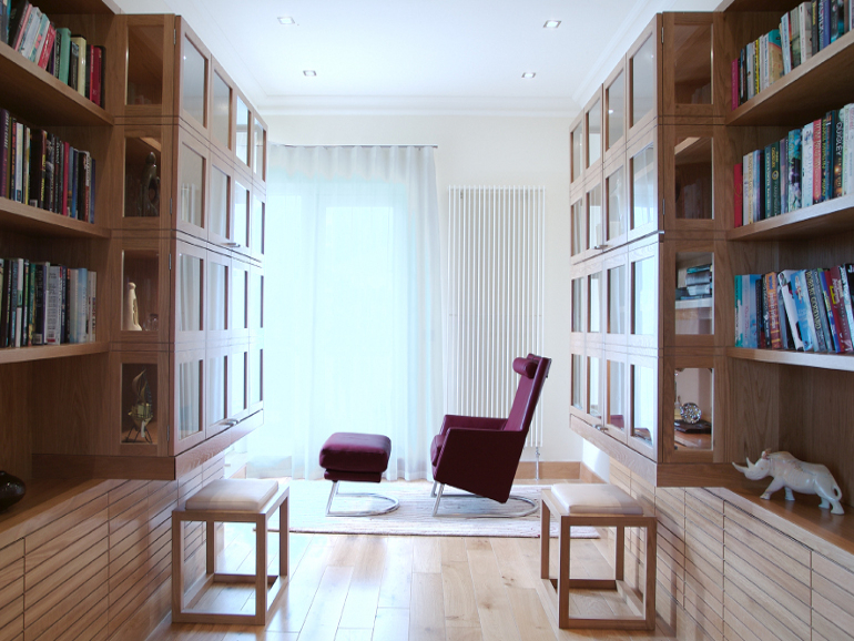 Bespoke Fitted Furniture Design- Penthouse Apartments - Penthouse Library Design Photograph