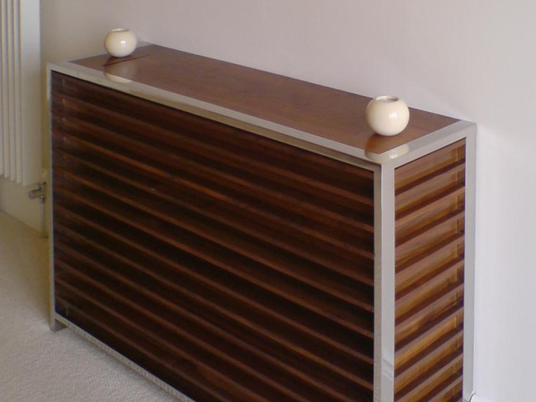 Free-standing Furniture - Walnut & Mirror Polished Steel Bedroom Radiator Cover Design Photograph