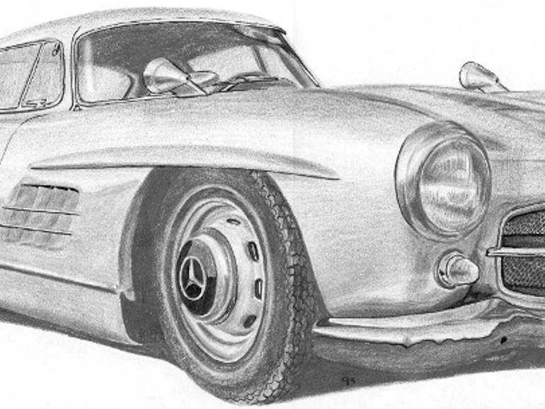 IBE Illustration - Hand-drawn Illustration - Mercedes-Benz Gull-Wing Car Illustration