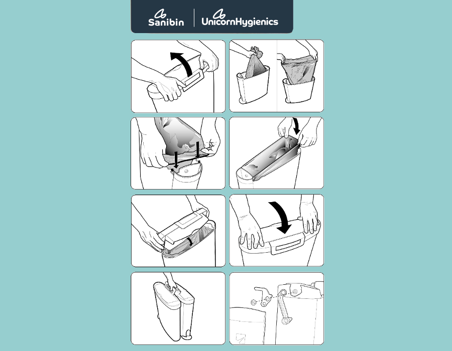 IBE Illustration - Technical Illustration - Sanitary Bin user manual illustrations For Evason Product Design