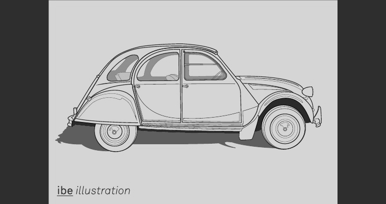 IBE Self-Promotional Postcard Illustrations - Citroen 2CV Illustration
