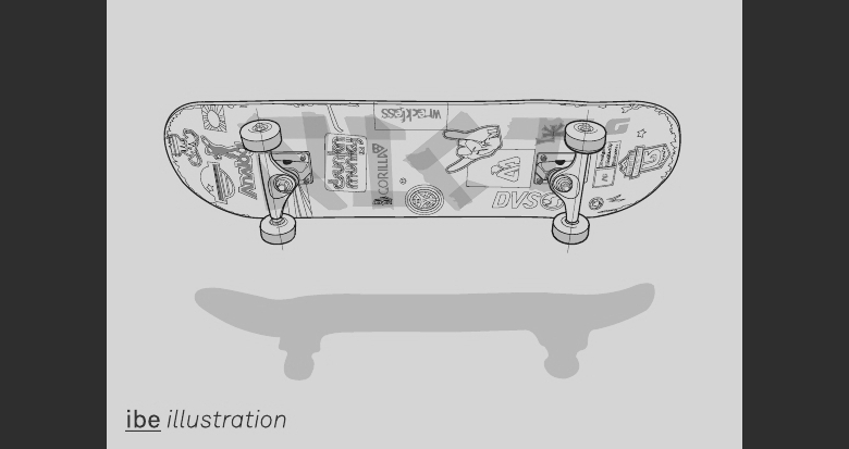 IBE Self-Promotional Postcard Illustrations - Skateboard Illustration