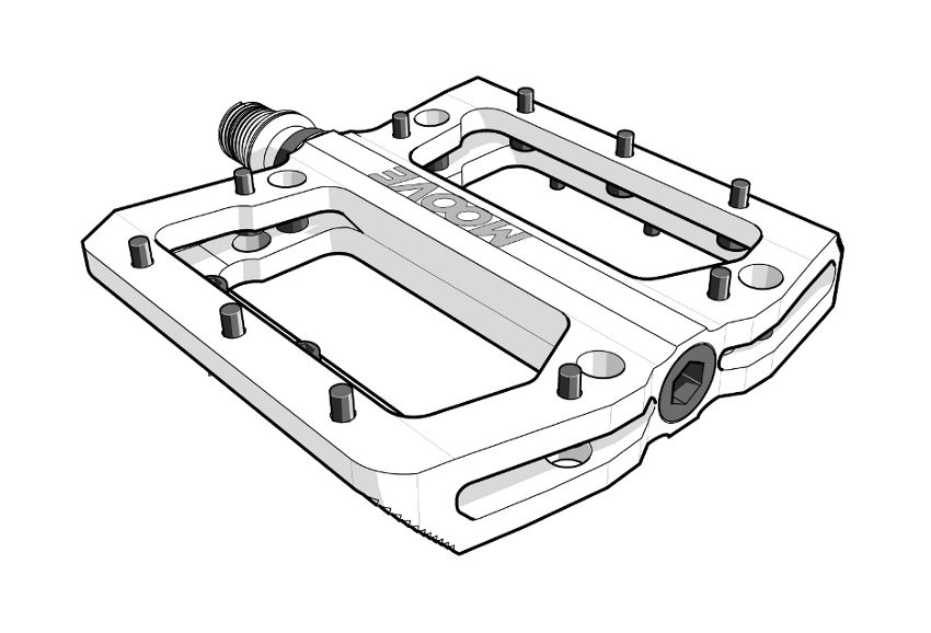 IBE Illustration - Technical Illustration - Moove Mountain Bike Allen Screw Pedal Illustration