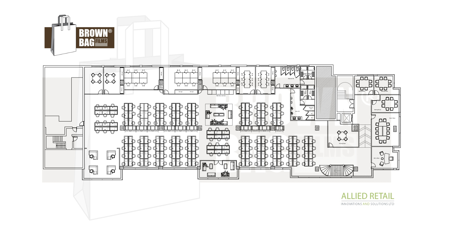IBE Office & Commercial - Office Planning - Brown Bag Films HQ Office Layout Planning