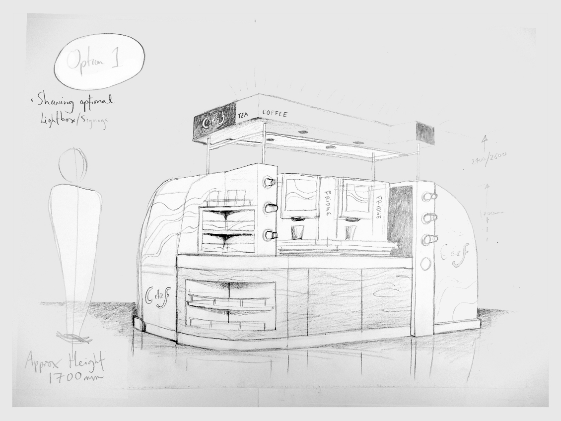 IBE Retail Food & Beverage Display Design - Aryzta Cuisine De France Coffee Concession - Barry's Coffee & Food Stand - Design Concept
