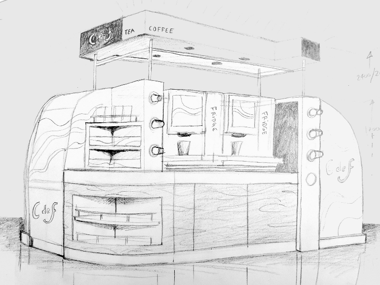 Retail Food & Beverage Display Design - Aryzta Cuisine De France Coffee Concession - Barry's Coffee & Food Stand - Design Concept