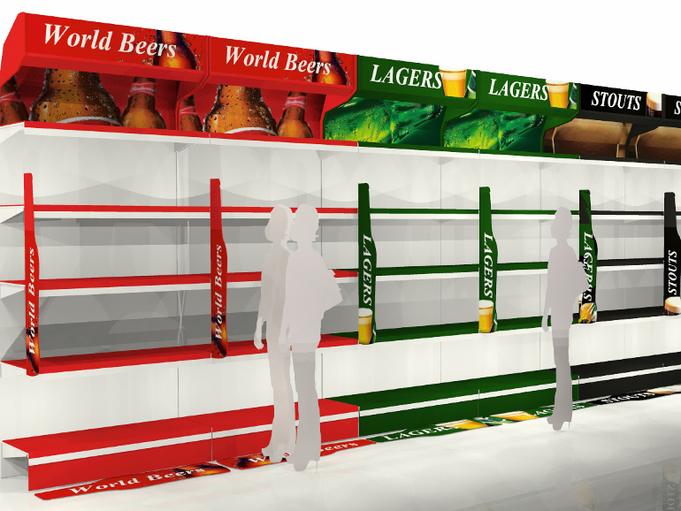 Retail Food & Beverage Display Design - Allied Retail for Diageo Lager Stout Ales Aisle POS Display Design 1