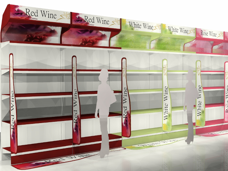 Retail Food & Beverage Display Design - Allied Retail for Diageo Blossom Hill Wine Aisle POS Display Design 2