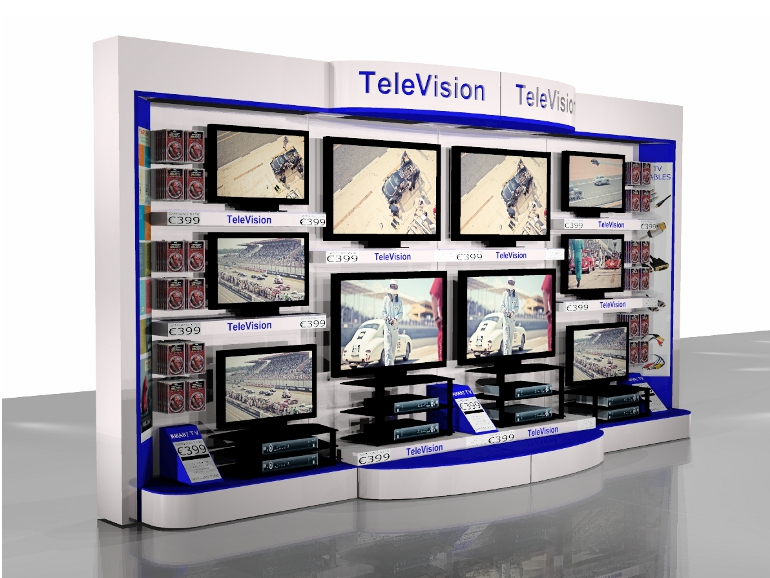 IBE Retail P.O.S./P.O.P. Design - Xtravision 4-Bay Smart TV Display System Design